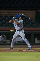 AZL Royals right fielder Kevon Jackson (16) at bat during an Arizona League game against the AZL Giants Black at Scottsdale Stadium on August 7, 2018 in Scottsdale, Arizona. The AZL Giants Black defeated the AZL Royals by a score of 2-1. (Zachary Lucy/Four Seam Images)
