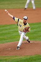 Georgia Tech Yellow Jackets pitcher Luke Bard # 38  during a game versus the Boston College Eagles at Shea Field on the campus of Boston College in Chestnut Hill, Massachusetts on March 24, 2012.  (Ken Babbitt/Four Seam Images)