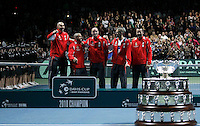 Members of the Serbian national tennis team, from left: Nenad Zimonjic, Janko Tipsarevic, Viktor Troicki, Novak Djokovic and team captain Bogdan Obradovic jubilate after they won the Davis Cup finals against France in Belgrade, Serbia, Sunday, Dec. 5, 2010..(Srdjan Stevanovic/Starsportphoto ©)