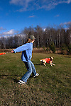 Young girl throwing an orange dummy for a yellow Labrador retriever (AKC).  Fall.  Winter, WI.