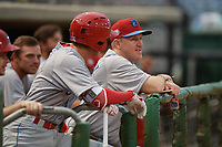 Clearwater Threshers hitting coach Chris Heintz (41) talks with Nick Maton (left) during a Florida State League game against the Dunedin Blue Jays on April 4, 2019 at Spectrum Field in Clearwater, Florida.  Dunedin defeated Clearwater 11-1.  (Mike Janes/Four Seam Images)
