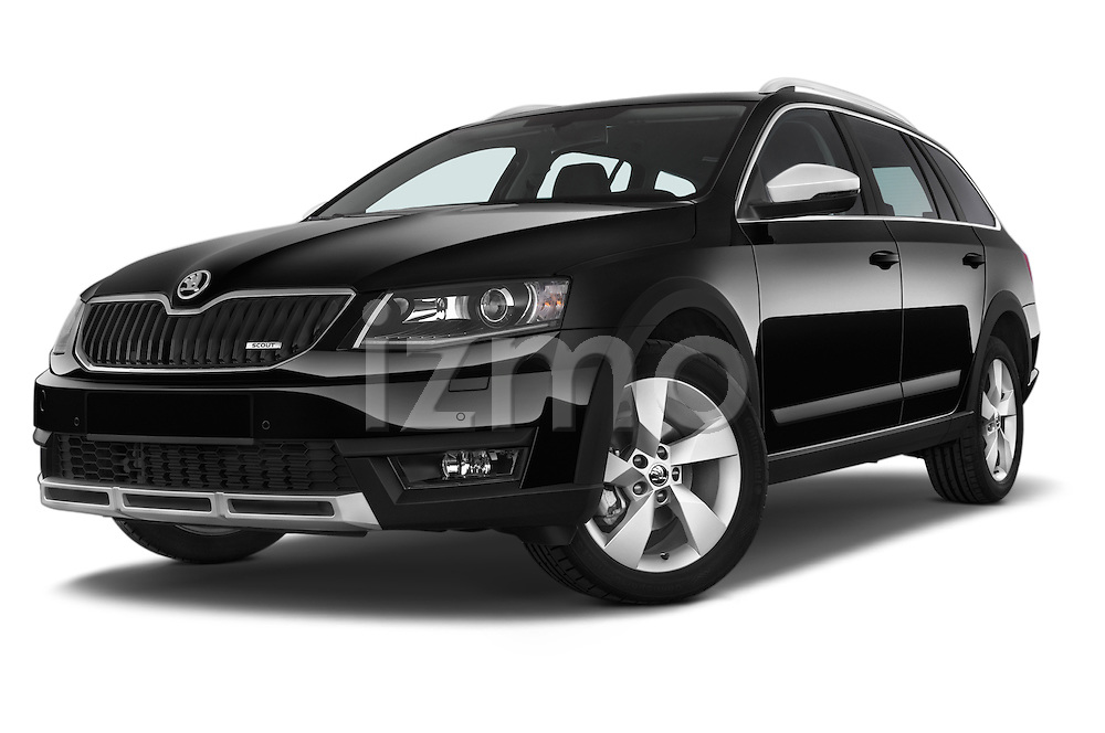 Stock pictures of low aggressive front three quarter view of a 2015 Skoda Octavia Scout 5 Door Wagon Low Aggressive