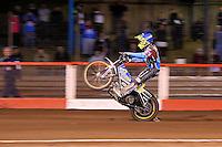 Heat 10: Kim Nilsson of Lakeside celebrates a 5-1 with a wheelie - Vortex Lakeside Hammers vs Kings Lynn Stars - Sky Sports Elite League Speedway at Arena Essex Raceway, Purfleet - 23/04/13 - MANDATORY CREDIT: Gavin Ellis/TGSPHOTO - Self billing applies where appropriate - 0845 094 6026 - contact@tgsphoto.co.uk - NO UNPAID USE.