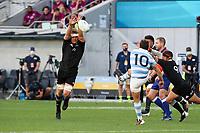 14th November 2020, Sydney, Australia;  Sam Cane attempts a charge down the kick made by Nicolás Sánchez. Tri Nations rugby union test match,  New Zealand All Blacks versus Argentina Pumas. Bankwest Stadium, Sydney, Australia.