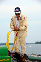 Fred Alter prepares his boat for launching...10-12 July, 2009, 100th Gold Cup, Detroit River, Detroit, MI USA..©2009 F.Peirce Williams, USA.