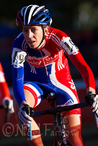 03 NOV 2012 - IPSWICH, GBR - Helen Wyman (GBR) of Great Britain makes her way round the course during the Elite Women's European Cyclo-Cross Championships in Chantry Park, Ipswich, Suffolk, Great Britain (PHOTO (C) 2012 NIGEL FARROW)