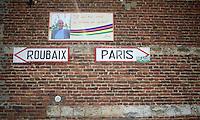 Roubaix - Paris<br /> Little memorial plaque along the route in Troisville in honor of the 'founder' of the modern Paris-Roubaix: Jean Stablinski.<br /> <br /> 113th Paris-Roubaix 2015