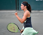 April  7, 2018:  Anastasia Sevastova (LAT) battles against Julia Goerges (GER) before the rains came at the Volvo Car Open being played at Family Circle Tennis Center in Charleston, South Carolina.  ©Leslie Billman/Tennisclix/CSM