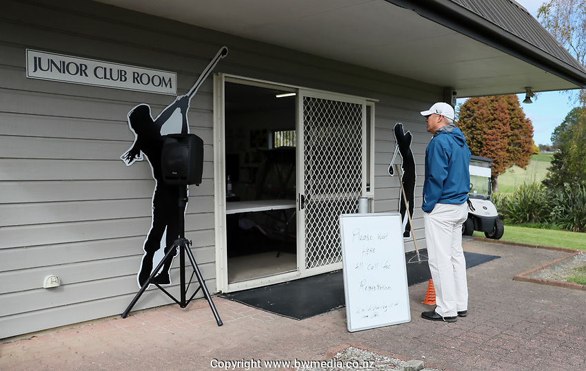 """Players wait to register at Whitford park. Golf during Level 3 Covid 19 isolation regulations. Players playing as part of their """"bubble"""" or solo. Whitford park and Formosa Golf Courses. Thursday 30 April 2020. Photo: Simon Watts/www.bwmedia.co.nz"""