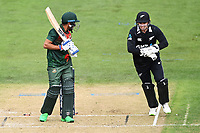 20th March 2021; Dunedin, New Zealand;  Tom Latham celebrates as Mehidy Hasan Miraz is bowled through his legs by Mitchell Santner during the New Zealand Black Caps v Bangladesh International one day cricket match. University Oval, Dunedin.
