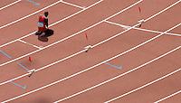 24 AUG 2008 - BEIJING, CHN - Race winner Samuel Wansiru (KEN) celebrates winning the Mens Marathon - Day Sixteen - Beijing Olympics. (PHOTO (C) NIGEL FARROW) *** IOC RULES APPLY ON USAGE ***