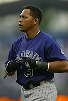 Rene Reyes of the Colorado Rockies during a 2003 season MLB game at Dodger Stadium in Los Angeles, California. (Larry Goren/Four Seam Images)