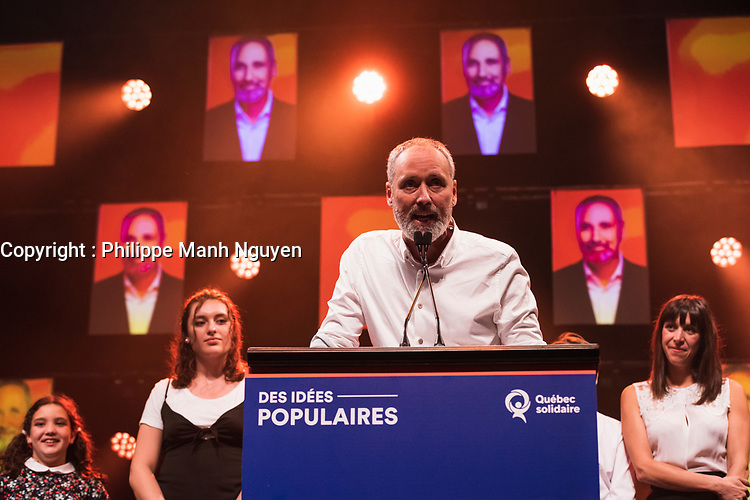 Vincent Marrissal lors de La soiree electorale de Quebec Solidaire, le 1er octobre 2018<br /> <br /> PHOTO : Agence Quebec Presse<br /> - Philippe Manh Nguyen