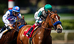 April 4, 2021: Gamine and John Velazquez win the Las Flores Stakes at Santa Anita Park in Arcadia, California on April 4, 2021. Evers/Eclipse Sportswire/CSM