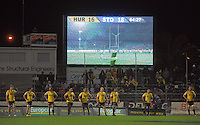 The Hurricanes wait for a conversion attempt as the scoreboard reads 16-18 during the Super Rugby match between the Hurricanes and Stormers at FMG Stadium, Palmerston North, New Zealand on Friday, 26 April 2013. Photo: Dave Lintott / lintottphoto.co.nz