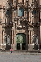 Peru, Cusco.  Entrance to Church of La Compania, 17th. Century Jesuit Church, Facing the Plaza de Armas.