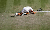 2nd July 2021; Wimbledon, SW London. England; Wimbledon Tennis Championships, day 5;  Novak Djokovic of Serbia reacts during the mens singles third round match between Novak Djokovic of Serbia and Denis Kudla of the United States
