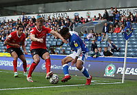 11th September 2021; Ewood Park, Blackburn, Lancashire England; EFL Championship football, Blackburn Rovers versus Luton Town; Tyrhys Dolan of Blackburn Rovers takes on James Bree of Luton Town