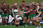 Notise Tauafoa gets the pass away as Armyn Sanders makes to tackle. Counties Manukau McNamara Cup Premier Club Rugby final between Pukekohe andWaiuku, held at Bayer Growers Stadium, on Saturday July 17th. Waiuku won 25 - 20.