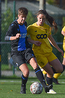 20191026 – Brugge, BELGIUM : Brugge's Isabelle Iliano (L) and Standard's Constance Brackman (R) pictured during a women soccer game between Club Brugge Dames and Standard Femina de Liege on the seventh matchday of the Belgian Superleague season 2019-2020 , the Belgian women's football  top division , Saturday 26 th October 2019 at the synthetic terrain 4 at the Jan Breydel site in Brugge  , Belgium  .  PHOTO SPORTPIX.BE | DIRK VUYLSTEKE