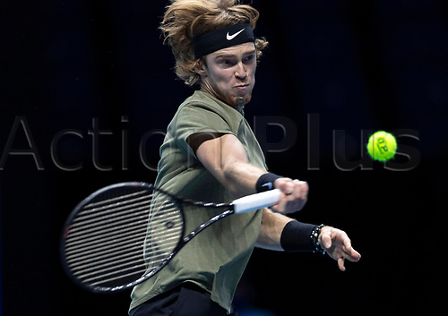 15th November 2020, O2, London, England;  Andrey Rublev of Russia competes during the singles group match against Rafael Nadal of Spain at the ATP, Tennis Mens World Tour Finals 2020 in London