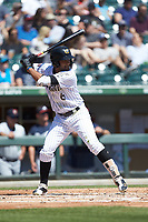 Jose Rondon (6) of the Charlotte Knights at bat against the Gwinnett Stripers at BB&T BallPark on May 2, 2018 in Charlotte, North Carolina.  The Knights defeated the Stripers 6-5.  (Brian Westerholt/Four Seam Images)