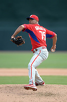 Philadelphia Phillies pitcher Miguel Alfredo Gonzalez (75) during a spring training game against the Baltimore Orioles on March 7, 2014 at Ed Smith Stadium in Sarasota, Florida.  Baltimore defeated Philadelphia 15-4.  (Mike Janes/Four Seam Images)