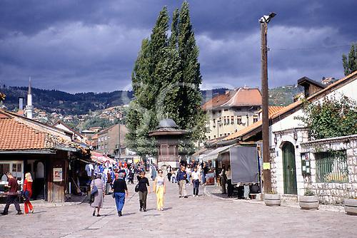 Sarajevo, Bosnia. The Turkish Quarter with tourists.