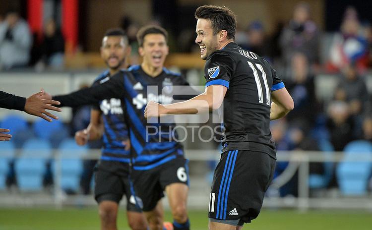 San Jose, CA - Saturday March 03, 2018: Valeri Qazaishvili celebrates a goal during a 2018 Major League Soccer (MLS) match between the San Jose Earthquakes and Minnesota United FC at Avaya Stadium.