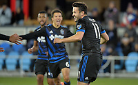 San Jose, CA - Saturday March 03, 2018: Valeri Qazaishvili celebrates a goal during a 2018 Major League Soccer (MLS) match between the San Jose Earthquakes and Minnesota United FC at Avaya Stadium.