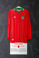 Ryan Giggs' 1994/96 Wales away shirt is displayed at The Art of the Wales Shirt Exhibition at St Fagans National Museum of History in Cardiff, Wales, UK. Monday 11 November 2019