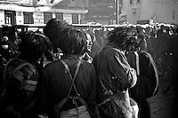 Pilgrims arrive at the Jokhang in Lhasa, Tibet