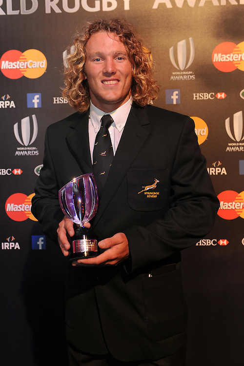 Werner Kok, winner of the Mens Sevens Player of the Year award at the World Rugby Awards 2015  - 01/11/2015 - Battersea Evolution, London<br /> Mandatory Credit: Rob Munro/Stewart Communications