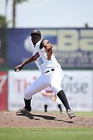 Samil De Los Santos (16) of the Inland Empire 66ers pitches against the Visalia Rawhide at San Manuel Stadium on June 5, 2017 in San Bernardino, California. Visalia defeated Inland Empire, 9-1. (Larry Goren/Four Seam Images)