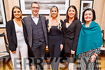 Emma Connelly, Kyle Rostron, Amy and Sarah McLoughlan and Louise Walsh staff of the Rose Hotel their party in the Ballygarry House Hotel on Sunday.