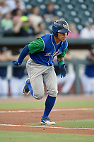 Designated hitter Freddy Fermin (4) of the Lexington Legends runs toward first base in a game against Columbia Fireflies on Friday, June 14, 2019, at Segra Park in Columbia, South Carolina. Lexington won, 5-1. (Tom Priddy/Four Seam Images)