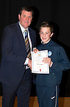 St Johnstone FC Academy Awards Night...06.04.15  Perth Concert Hall<br /> Tommy Wright presents a certificate to Ben Ragan<br /> Picture by Graeme Hart.<br /> Copyright Perthshire Picture Agency<br /> Tel: 01738 623350  Mobile: 07990 594431
