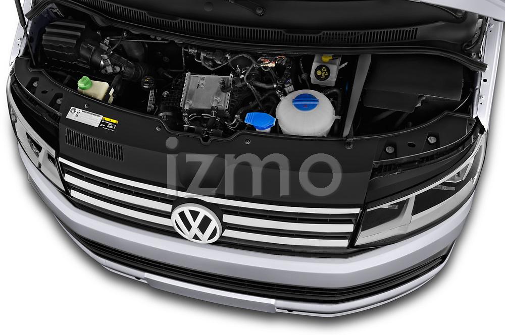 Car stock 2018 Volkswagen California Ocean 4 Door Passenger Van engine high angle detail view