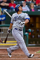 Bronson Sardinha (6) of the Tulsa Drillers follows through on his swing during a game against the Springfield Cardinals on April 29, 2011 at Hammons Field in Springfield, Missouri.  Photo By David Welker/Four Seam Images.