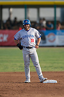 Stockton Ports second baseman Nate Mondou (10) stands on second base during a California League game against the Visalia Rawhide at Visalia Recreation Ballpark on May 8, 2018 in Visalia, California. Stockton defeated Visalia 6-2. (Zachary Lucy/Four Seam Images)