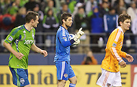 Houston Dynamo goalkeeper Tally Hall wags his finger after making a save during play against the Seattle Sounders FC at Qwest Field in Seattle Friday March 25, 2011. The match ended in a 1-1 draw.