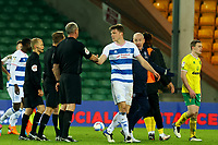 29th December 2020; Carrow Road, Norwich, Norfolk, England, English Football League Championship Football, Norwich versus Queens Park Rangers; Queens Park Rangers Manager Mark Warburton complains to the referee
