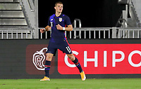 FORT LAUDERDALE, FL - DECEMBER 09: Chris Mueller #11 of the United States heads home a scoring goal and celebrates during a game between El Salvador and USMNT at Inter Miami CF Stadium on December 09, 2020 in Fort Lauderdale, Florida.