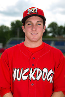 Batavia Muckdogs outfielder Mike O'Neil #11 poses for a photo before the first day of practice for the start of the NY-Penn League at the Dwyer Stadium in Batavia, New York;  June 13, 2011.  Photo By Mike Janes/Four Seam Images