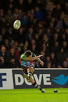 Ben Botica of Harlequins takes a conversion attempt during the Heineken Cup match between Harlequins and Biarritz Olympique Pays Basque at the Twickenham Stoop on Saturday 13th October 2012 (Photo by Rob Munro)
