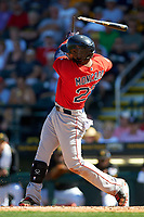 Boston Red Sox second baseman Yoan Moncada (22) breaks his bat during a Spring Training game against the Pittsburgh Pirates on March 9, 2016 at McKechnie Field in Bradenton, Florida.  Boston defeated Pittsburgh 6-2.  (Mike Janes/Four Seam Images)