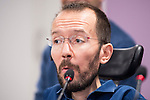 Pablo Echenique during PODEMOS press conference after meeting with autonomy general and organizational secretaries sat Real Palace in Madrid March 17,2016. (ALTERPHOTOS/Borja B.Hojas)