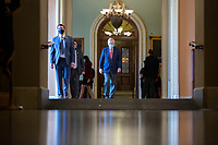 United States Senate Majority Leader Mitch McConnell (Republican of Kentucky) walks from his office to the Senate Floor at the United States Capitol in Washington D.C., U.S., on Monday, June 29, 2020. Photo Credit: Stefani Reynolds/CNP/AdMedia