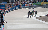 Sprint finish with Greg Van Avermaet (BEL/BMC) & Zdenek Stybar (CZE/Quick Step Floors) fighting for victory in the legendary Roubaix velodrome<br /> <br /> 115th Paris-Roubaix 2017 (1.UWT)<br /> One Day Race: Compiègne › Roubaix (257km)
