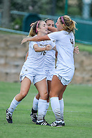 Texas State forward Tori Hale (16) celebrates after scoring a goal against Appalachian State during first half of an NCAA soccer game, Sunday, October 05, 2014 in San Marcos, Tex. Texas State leads 1-0 at the halftime. (Mo Khursheed/TFV Media via AP Images)
